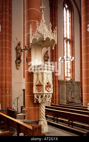 St. Wendel, Basilika St. Wendelin (Wendalinusbasilika), Kanzel mit Cusanuswappen - Stock Photo