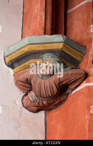 St. Wendel, Basilika St. Wendelin (Wendalinusbasilika), Konsolfigur eines Baumeisters - Stock Photo