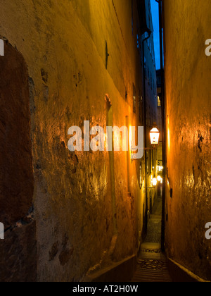 Mårtens Trotzigs Gränd, the narrowest alley in Stockholm Sweden. - Stock Photo