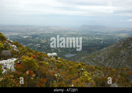View from Table mountain over Camps Bay Cape Town South Africa - Stock Photo
