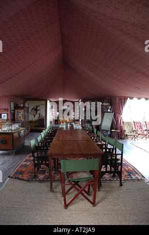 Interior of mess tent at jack s camp safari camp in makgadikgadi in the kalahari desert
