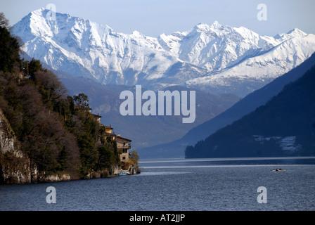 View on Gandria and Lugano Lake - Stock Photo