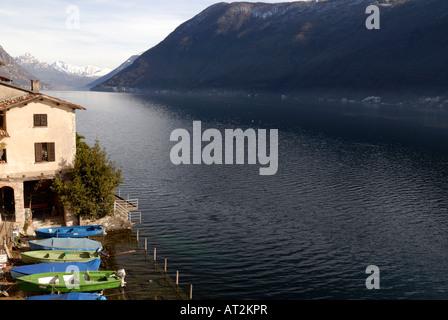 View on Lugano Lake from Gandria City - Stock Photo