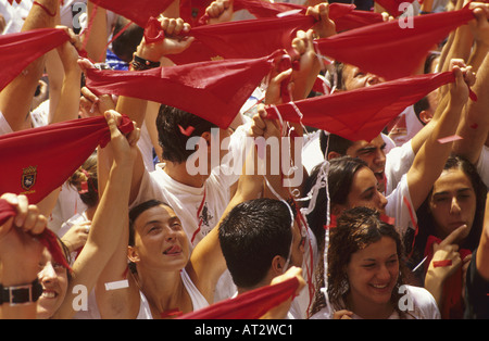 Revellers celebrate as the San Fermin Festival kicks off Town Hall - Stock Photo