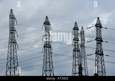 France drome electrical pylons of the tricastin nuclear power plant - Stock Photo
