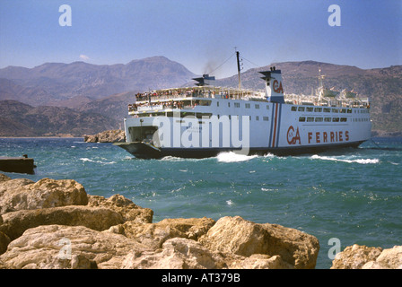 Pigadia Harbour Harbor Dodecanese Island of Karpathos Greece Europe - Stock Photo