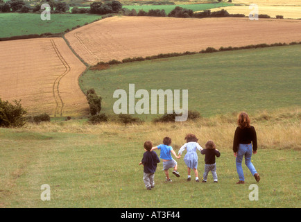 Sunday afternoon walk Cley Hill, near Longleat Warminster Wiltshire - Stock Photo
