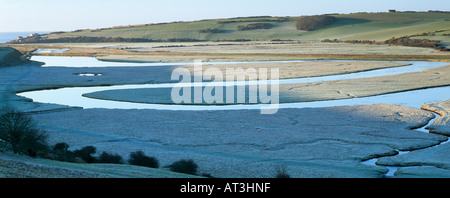 Meander in Cuckmere River near Exceat East Sussex England UK - Stock Photo