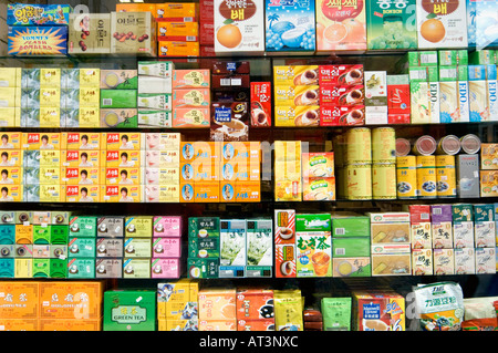chinese china food packets on display in shop window chinatown london england uk china food sealed packets mass - Stock Photo