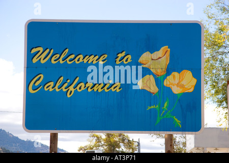 Welcome to California sign at the Oregon border on US highway 395. - Stock Photo