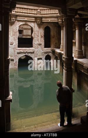 Resevoir of Water at Queen Rudabai's Stepwell Adalaj Ahmedabad Gujarat India - Stock Photo