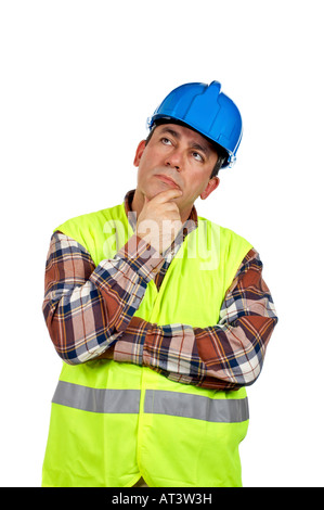 Construction worker with green safety vest thinking over a white background - Stock Photo