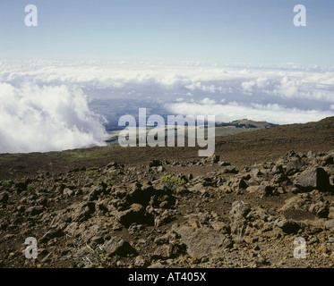 geography / travel, USA, Hawaii, Maui, Haleakala National Park, view from approx. 3500 m of height, volcano, lava, - Stock Photo