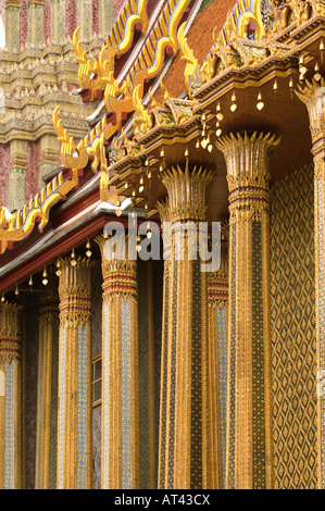 Mosaic encrusted wall of the Phra Mondop library building on the grounds of the Grand Palace Bangkok Thailand - Stock Photo