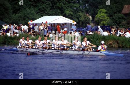Jesus College Mens Boat participating in the Cambridge Bumps - Stock Photo