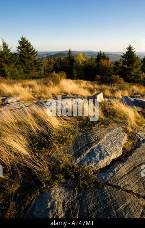 The view south from the summit of Silver Mountain in Lempster, New Hampshire. - Stock Photo