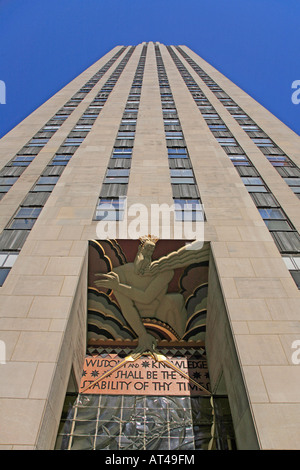 LEE LAWRIE S WISDOM LIGHT and SOUND sculpture atop the entrance to 30 ROCKEFELLER CENTER NEW YORK CITY - Stock Photo