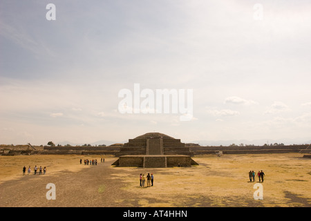 Front view of the Quetzalcoatl (feathered serpent) pyramid temple in Teotihuacan, Mexico. - Stock Photo