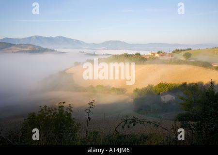 Sunrise in Le Marche region of Italy - Stock Photo