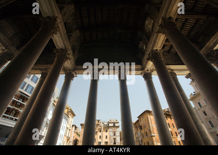 The Pantheon pronaos columns and the Rotonda square on the background, Rome - Stock Photo