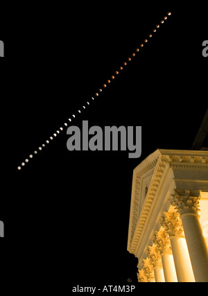 A total lunar eclipse was visible over the Rotunda at the University of Virginia in Charlottesville Virginia on - Stock Photo