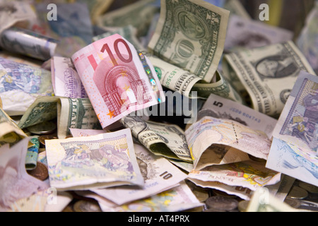 International currency banknotes dollars euros pounds sterling money mixed collection - Stock Photo