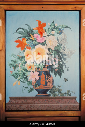 fine arts, painting, still-life, bouquet ogf flowers in a antique painted vase, colour print, folding-screen, Paris, - Stock Photo