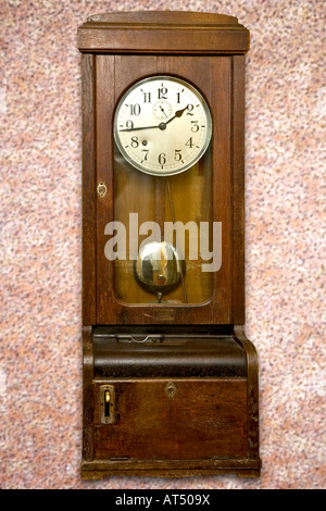 Old wooden clock card mashine - Stock Photo