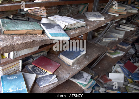 a Library  in a school in Prypiat (Chernobyl), Ukraine. 19 years after disaster. - Stock Photo