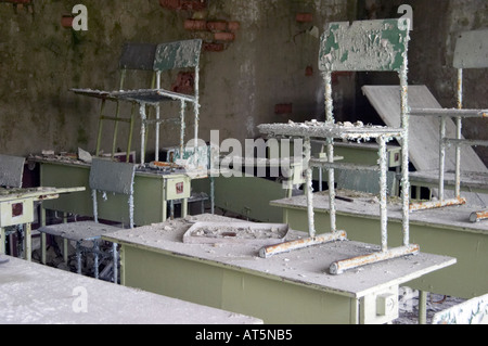 a school in Prypiat (Chernobyl), Ukraine. 19 years after disaster. - Stock Photo