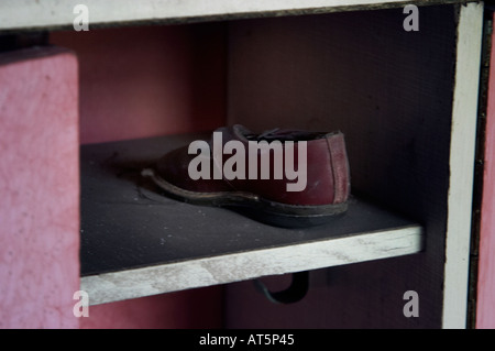 A locker in a playschool in Prypiat (Chernobyl), Ukraine. - Stock Photo
