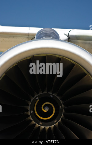 Closeup of the jet air intake of an IAE V2500 turbofan engine powering an Airbus A320 - Stock Photo