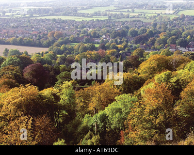 view of princes risborough from whiteleaf hill the ridgeway path the chilterns buckinghamshire england - Stock Photo