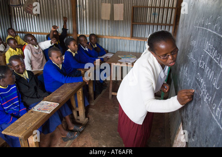 Orphans having lessons at a primary school in Ruiru Kenya - Stock Photo