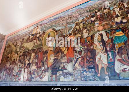 'The great Tenochtitlan' Diego Rivera fresco mural, 1945, National Palace, Mexico City - Stock Photo