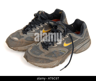 sport shoe cut out football footwear nike  Dirty trainers - Stock Photo a29850325