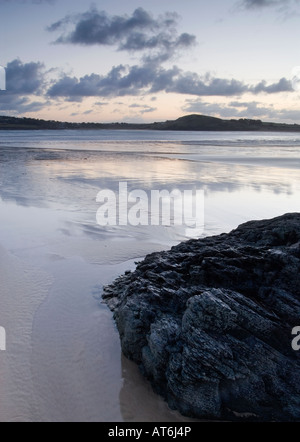 Sunrise over the Camel estuary looking across the estuary to Rock North Cornwall - Stock Photo