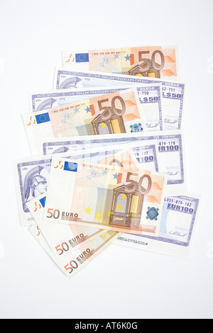 Traveller checks and european currency, elaveted view - Stock Photo