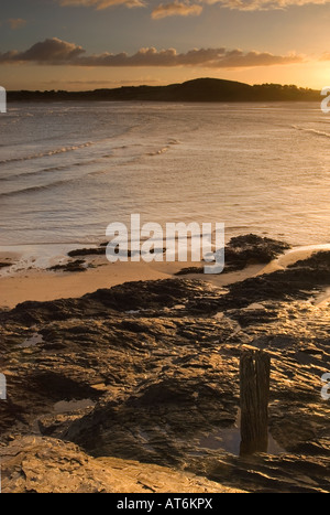 Sunrise over the Camel estuary at Hawkers Cove near Padstow North Cornwall - Stock Photo