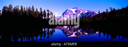 Mt Shuksan reflecting in Picture Lake, Mount Baker - Snoqualmie National Forest Area, Washington, USA - Panoramic - Stock Photo