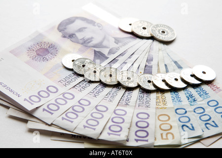 European currency: banknotes and coins - Stock Photo