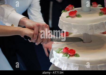 Portrait of a newly married couple cutting the wedding cake together at their wedding reception - Stock Photo