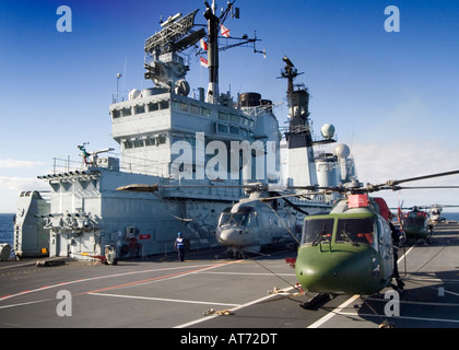 The Royal Navy aircraft carrier HMS Ark Royal currently roled as a LPH in support of Royal Marines Stock Photo