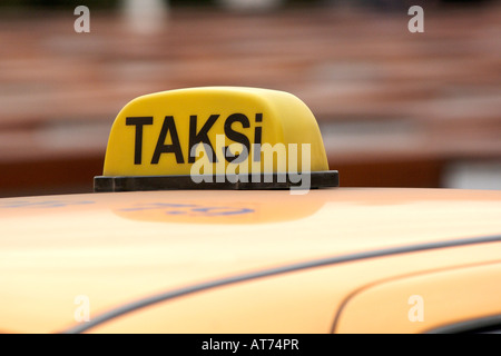'Taksi' sign on a Turkish taxi in Istanbul. - Stock Photo