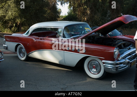 Los Angeles California car show antique customized 1956 56 Buick Super red and white - Stock Photo