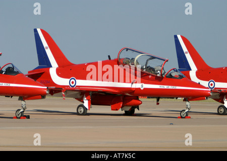The famous Red Arrows aerobatic display team parked on the runway - Stock Photo
