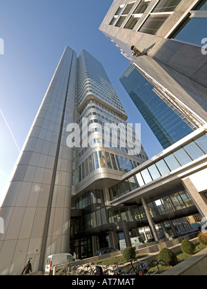 storefront of bank office tower of Dresdner Bank and Skyper in Frankfurt am Main Hesse Germany - Stock Photo