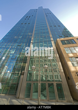 reflections of Japan Center on facade of the bank office tower of Dresdner Bank Galileo in Frankfurt am Main Hesse - Stock Photo