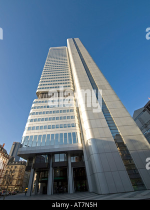 storefront of bank office tower of Dresdner Bank in Frankfurt am Main Hesse Germany - Stock Photo