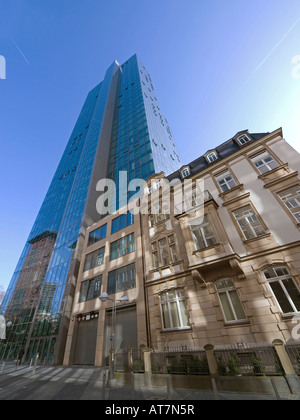 old and modern architecture old building beneath the bank office tower of Dresdner Bank Galileo with reflections - Stock Photo